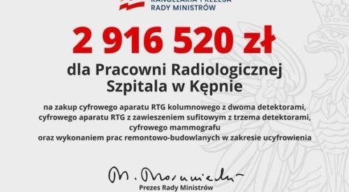 2 916 520 złotych dla KĘPIŃSKIEGO SZPITALA